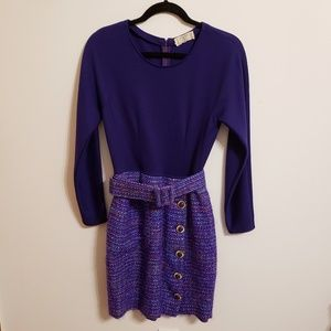 Valentino Vintage Purple Tweed Belted Dress...S